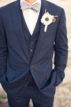 Two Buttons Navy Men Slim Fit Suits Notch Lapel Groomsmen Tuxedos Groom Men Wedding Suits Blazer (jacket+pant+vest)