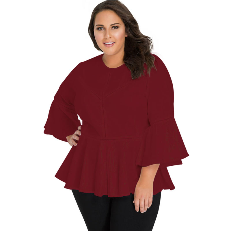 Liva Girl Sexy Plus Size Chiffon Blouse Womens Tops And Blouse Bell