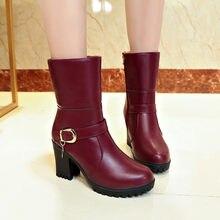db9352fd63 YOUYEDIAN Mulheres Sapatos Dobrar Botas Manter Quente Algodão de alta  qualidade De Couro De Salto Alto Botas Dedo Do Pé Redondo .