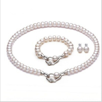 GB Freshwater Pearl 3PCS Set Hearts and Hearts 8-9mm Skull Flat Round Pearl Necklace Bracelet Earrings Royal Jewelry Set