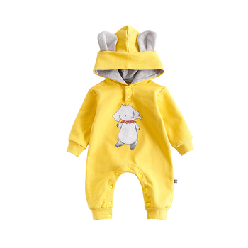 2017 Spring Autumn New Infant Jumpsuits Hooded Cartoon Animals Newborn Rompers Cotton Long Sleeve Outfits Girls Boys Coverall