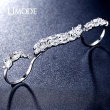 UMODE Brand New Rhodium plated Sparkling 0.25ct Marquise Cut CZ  Four Finger Rings Women's Exquisite Jewelry AUR0312