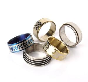 Image 4 - Edelstahl Schmuck Ring 100 stücke/box Geometrische Design Gemischt Stile Männer der Frauen Punk Finger Ring Anillo de dedo Großhandel lot