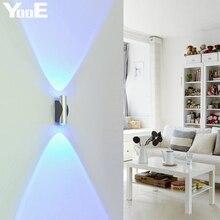 Yooe 2 Вт светодиодный настенный светильник AC110V/220 В акрил Алюминий Крытый бра Освещение спальня светодиодный светильник настенный Холодный/теплый белый/желтый