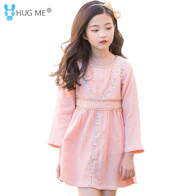cf3b34e0fcc3 2018 Autumn New Long Sleeve Pink Embroidered Dress for Kids 5 to 14 Years Girls  Cotton