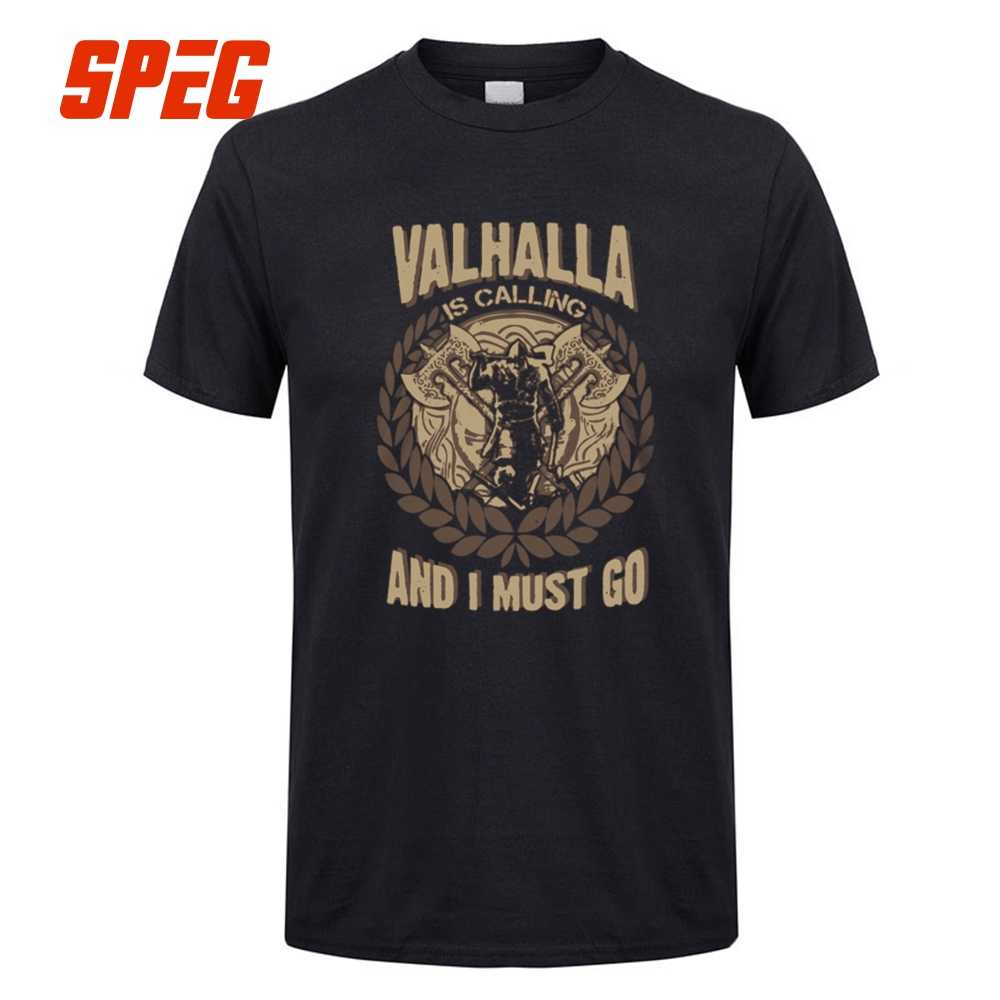 60911714 SPEG Vikings Valhalla is Calling And I Must Go T Shirt Men's Short Sleeve  Tops Cotton