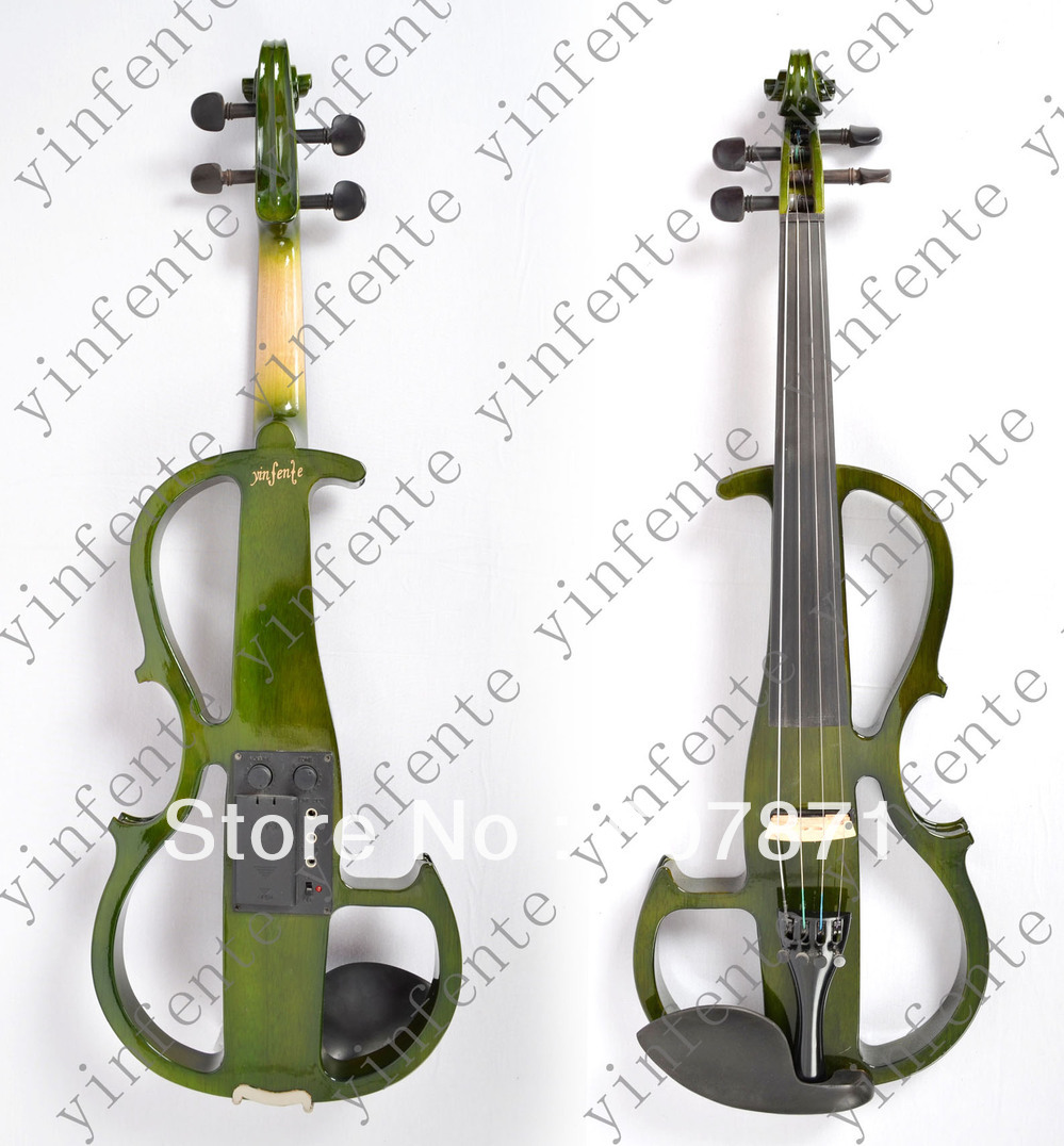 New green 1#  4/4 Electric violin silent wonderful tone Any color handmade new solid maple wood brown acoustic violin violino 4 4 electric violin case bow included
