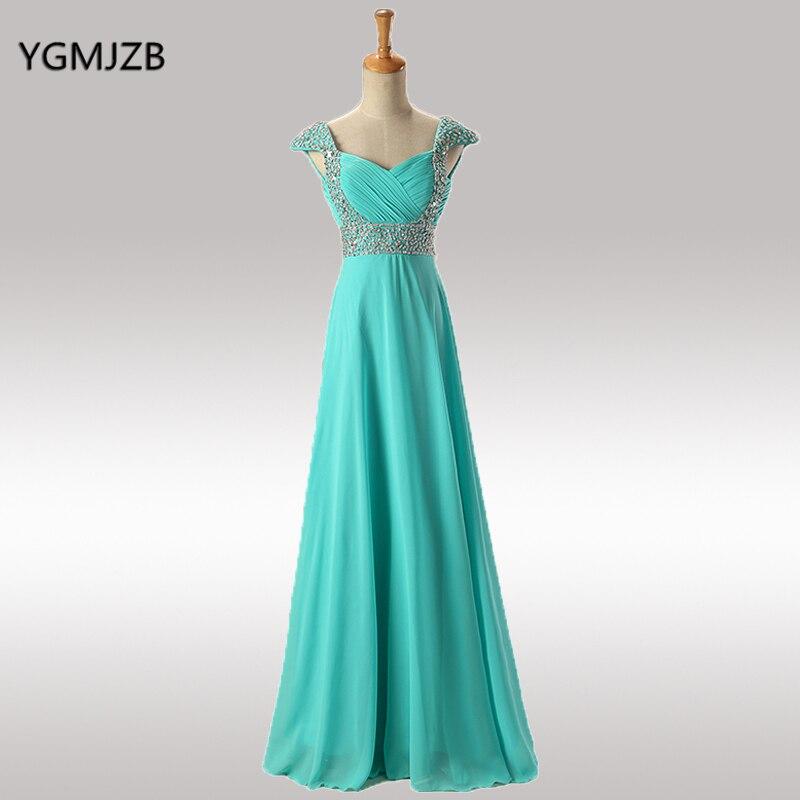 Menthe violet Royal bleu robes de demoiselle d'honneur longue en mousseline de soie chérie une ligne perlée pailletée pas cher moins de 50 robe de mariée 2018