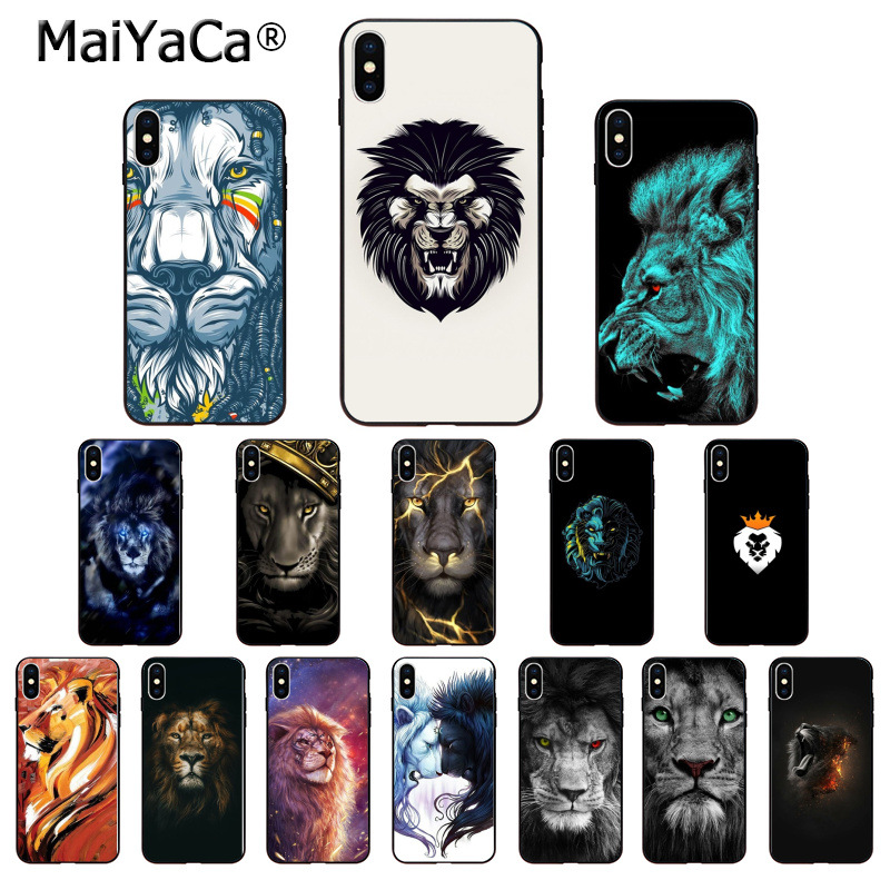 MaiYaCa New Fashion Lion Design Pattern Soft Phone Accessories Cell Phone Case for iPhone X XS MAX 6 6S 7 7plus 8 8Plus 5 5S XR