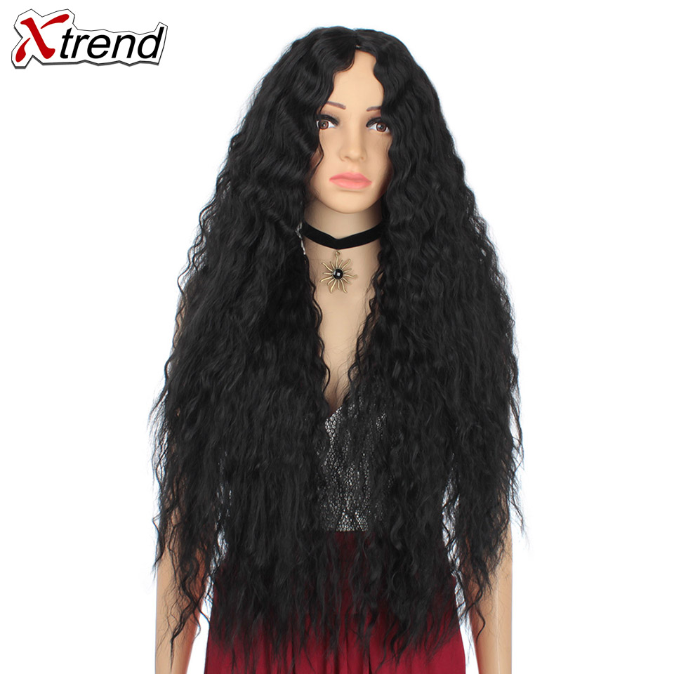 Xtrend Hair Long Curly Wig For Women Synthetic Wigs Black Blonde Wig 30 Inch Average Size Perruque