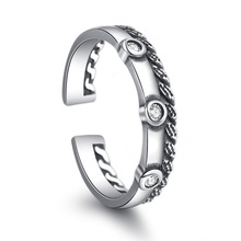 100% 925 sterling silver retro style thai silver ladies`finger rings jewelry no fade wholesale open ring drop shipping