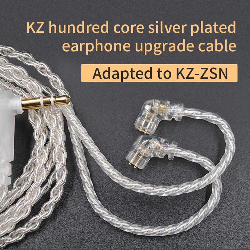 Replace Silver Plated 3.5mm Plug <font><b>0.75mm</b></font> <font><b>2Pin</b></font> Connector Earphone <font><b>Cable</b></font> for KZ-ZSN image
