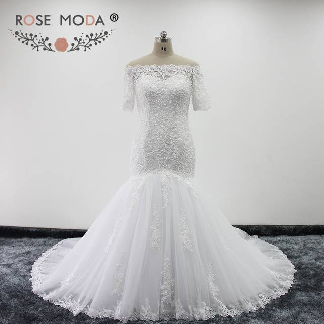 Rose Moda Boat Neck Half Sleeves Lace Mermaid Wedding Dresses Off Shoulder  Pearl Beaded Wedding Gowns. placeholder ... 60bb0b880bed