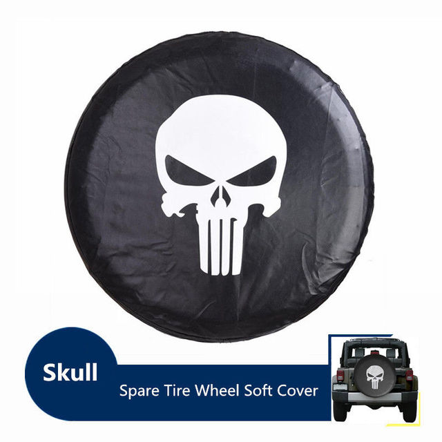 Spare Tire Cover,PVC Leather Waterproof Dust-proof Skulls RV Wheel Covers for Jeep...