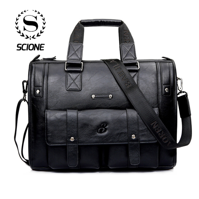 55d15f7284 Scione Men Thicken PU Leather Briefcase Large Capacity Laptop Business Messenger  Shoulder Bag High Quality Travel