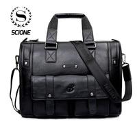 Scione Men Thicken PU Leather Briefcase Large Capacity Laptop Business Messenger Shoulder Bag High Quality Travel Office Handbag