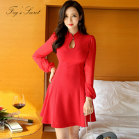 Large Size Female Red Dresses Hollow Out Sexy Slim Dress Knitted Cotton Quailty For Party Shopping