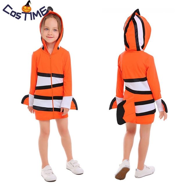 a60f2a6d81e5 Clownfish Costume Kids Adult Nemo Fish Roleplay Sea Animal Fancy Dress  Family Halloween Little Girl Costumes Matching Dresses