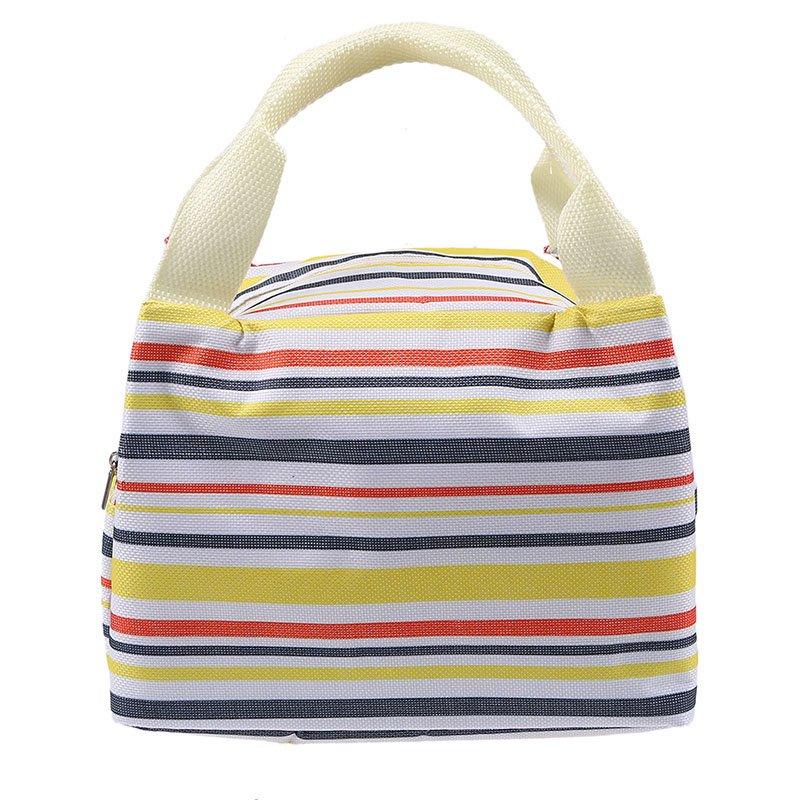 WCIC Storage Bag Portable Stripe Insulated Cooler Bags Thermal Food Picnic Organizer Kid Lunch Box Leisure Women Lunch Box Tote