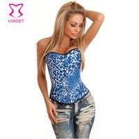 Women Shapewear Trainers Espartilhos E Corpetes Leopardo Sexy Corset Overbust Blue Leopard Bustier Top Gothic Burlesque