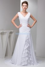 free shipping 2014 new design gowns brides maid dress hot seller v-neck formales white Custom size/color chiffon evening