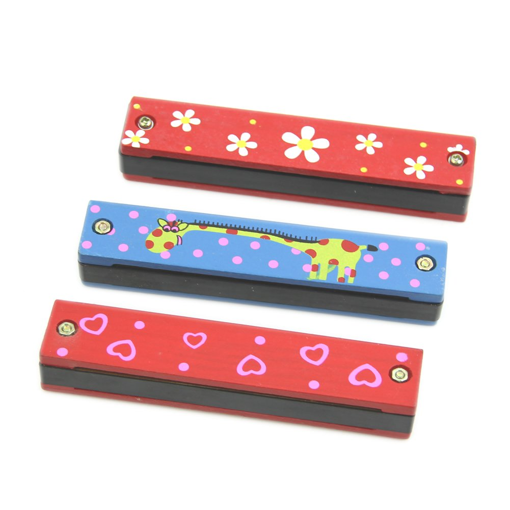 ABWE Best Sale Wooden Painted Harmonica Children Kids Musical Instrument Educational Music Toy