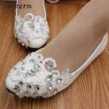 Sorbern белые свадебные туфли с кружевом слипоны с кружевной аппликацией туфли, расшитые бисером; женские свадебные босоножки на высоком каблуке, голую ногу Женская обувь на плоской подошве