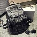 Подлинная Женская Мода Черный Овчины Кожаные Рюкзаки Женский Случайные Дорожные Сумки Для Твердых старинные школьные сумки для колледжа Девочек