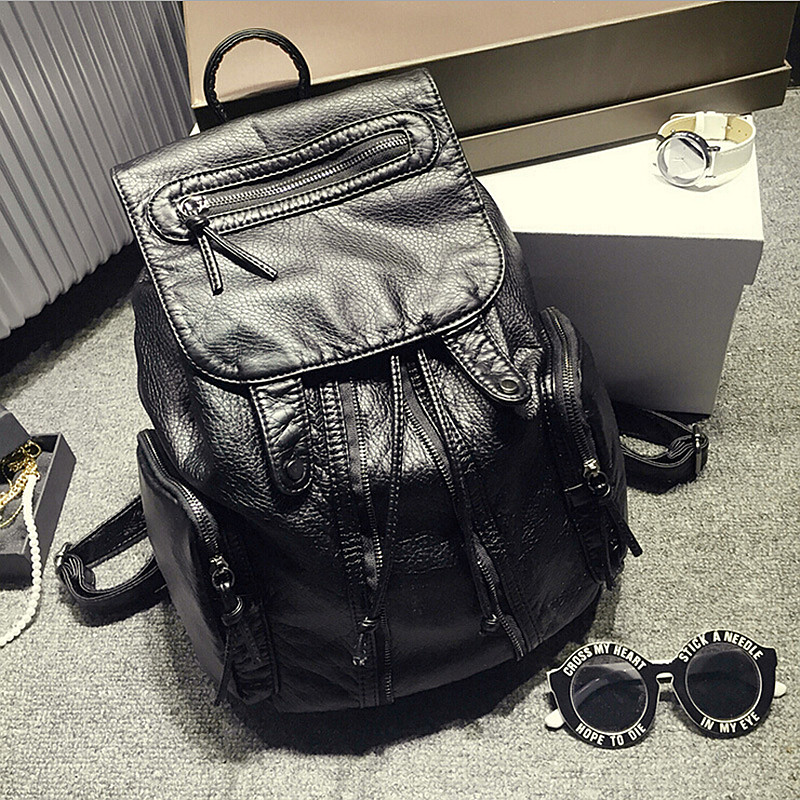 Genuine Fashion Women Black Sheepskin Leather Backpacks Female Casual Travel Bags For Solid vintage school bag