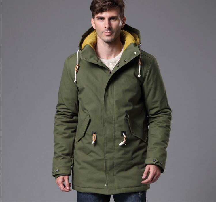 2018 New Men Winter Parkas Thick Warm Cotton Jacket Coats Male Casual Hooded Windproof Cold Overcoat Army Green Aviator Outwear