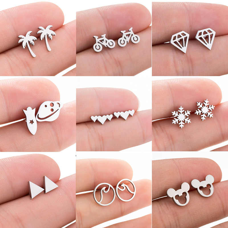 Jisensp 2019 New Geometric Earrings Cartoon Mouse Stud Earrings for Women Stainless Steel Mickey Animal Earing Mother's Day Gift