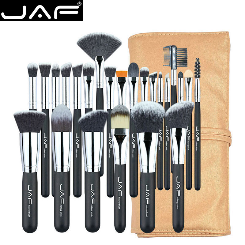JAF 24 unids Profesional Brochas para Maquillaje Conjunto de Alta Calidad Componen Cepillos Función Completa de Estudio de maquillaje Kit de Pinceles de Maquillaje J2404YC-B
