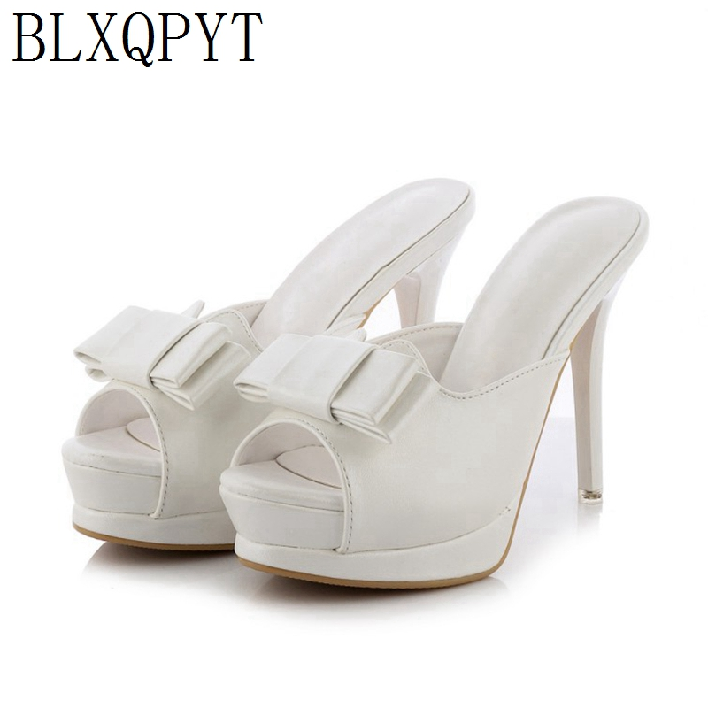 BLXQPYT Limited sales Fashion glitters Women Summer mules thin high Heels Mules <font><b>sexy</b></font> wedding party Shoes Woman <font><b>10</b></font> image