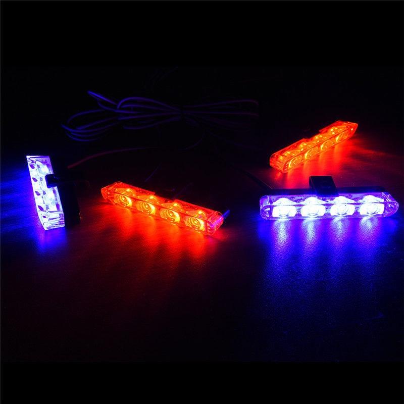 4pcs Car 4LED Red & Blue Remote Control Strobe Flash Emergency Warning Lamps