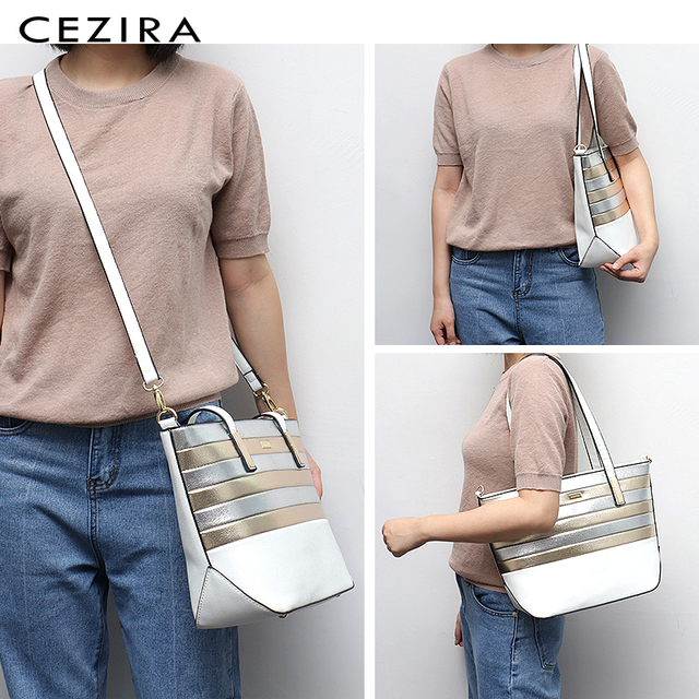 CEZIRA Designer Brand Women Bag Vegan Leather Fashion Tote Bags Female Large Capacity Shoulder Bags for Girls Patchwork Strip 1
