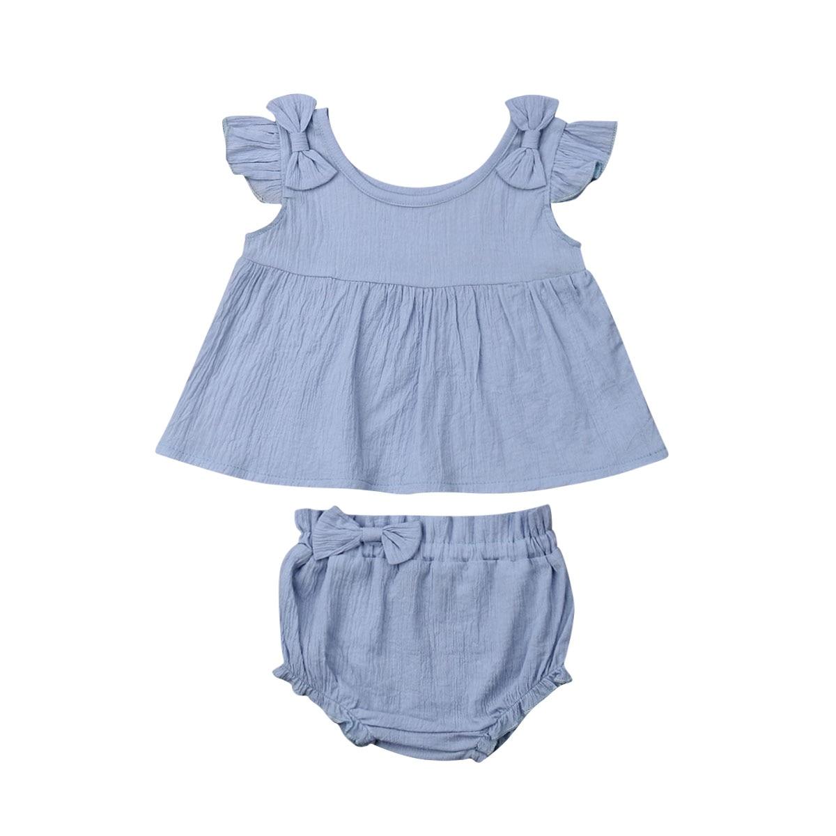 0-18 M Infant Neugeborenen Baby Mädchen Sommer Solide Outfit Bowknot Kurzen Ärmeln Tops + Shorts 2 Pcs Kleidung Set Kinder Mädchen Nette Kleidung