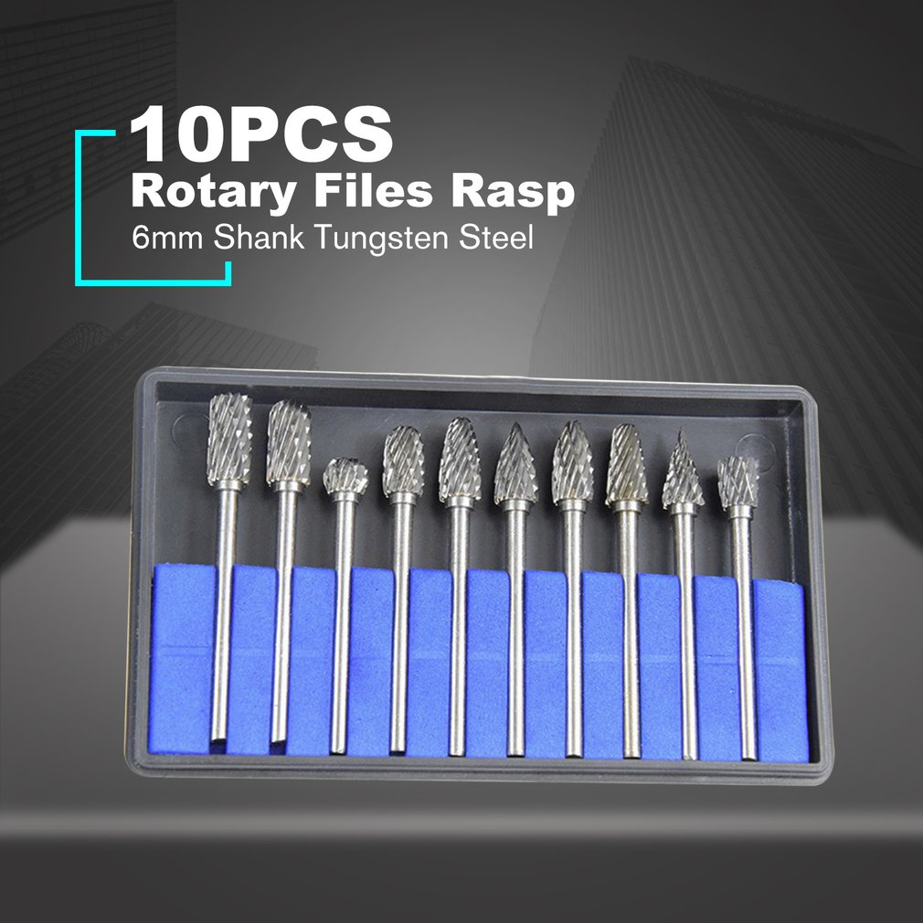10pcs/lot 6mm Shank Tungsten Steel Solid Carbide Rotary Files Rasp Diamond Burrs Set For Woodworking Drilling Carving Engraving