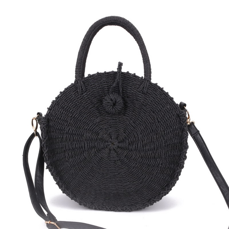 2018 Women Handmade Round Beach Shoulder Bag Bali Circle Straw Bags Summer Woven Rattan Handbags Women Messenger Bag INS Popular 2018 women hand woven round rattan straw bag ins bali bag bohemian beach circle bag circular handbag shoulder