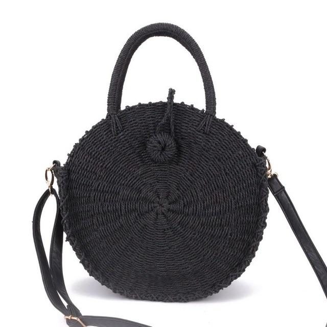 5bc07238e4 2018 Women Handmade Round Beach Shoulder Bag Bali Circle Straw Bags Summer  Woven Rattan Handbags Women