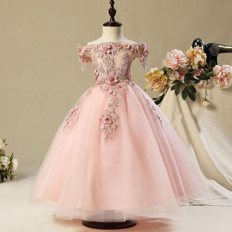 Детское платье принцессы из тюля для девочек, Великолепное Кружевное бальное платье, платье для маленьких девочек на свадьбу, карнавальный ...