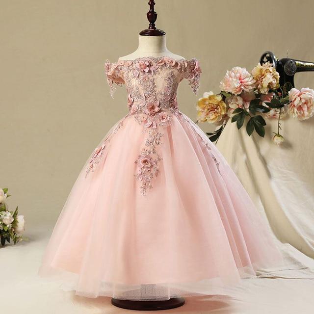 키즈 Tulle 공주 드레스 여자에 대 한 첫 번째 축제 화려한 레이스 공 가운 아기 소녀 드레스 웨딩 파티 의상 1 12