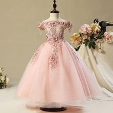 Çocuklar tül prenses elbise kız ilk bayram muhteşem dantel balo bebek kız elbise düğün için parti giysileri 1 12