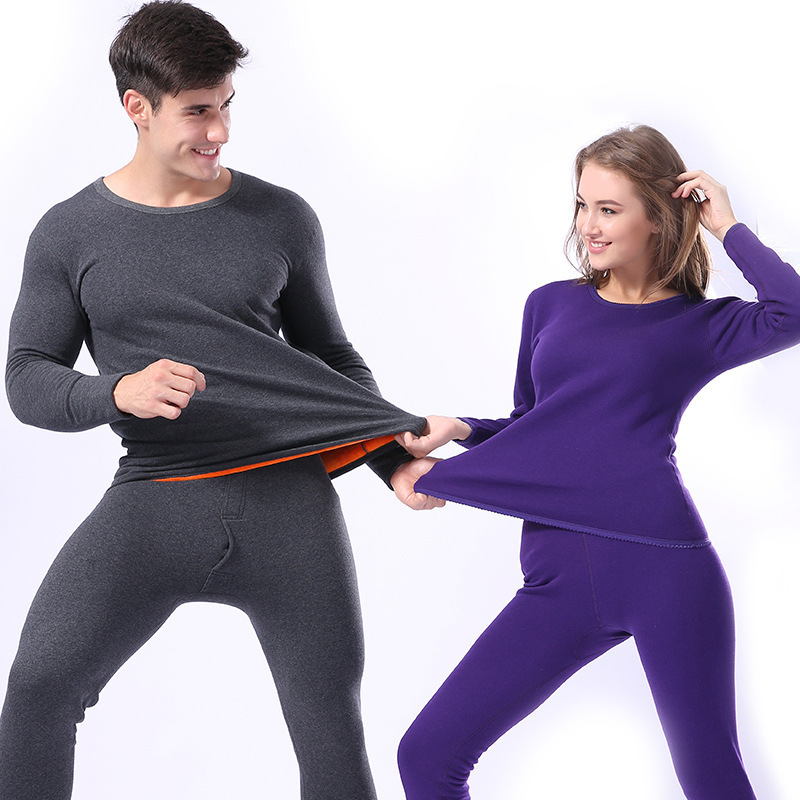 Autumn Winter Women Men Thermal Underwear Thick Long Johns Lovers Cotton Pajamas Keep Warm Long John Set Sexy Intimate Suit
