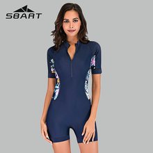 Sbart Floral Print One Piece Swimming Suits Sport Rush Guard Surfing Boyleg Swimwear Women