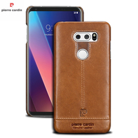 Pierre Cardin Case For LG V30 Luxury Original Genuine Leather Brand Phone Case Cover For LG V30 Ultra Thin Hard Back Cover Bags