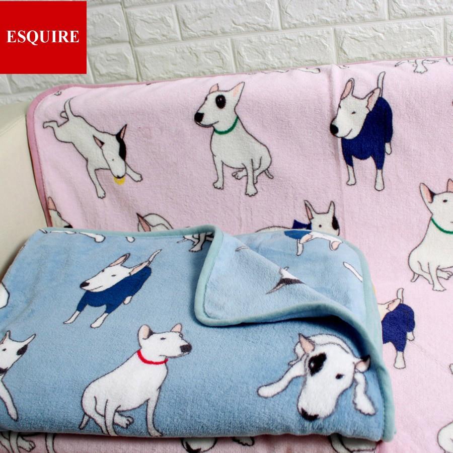 Calidad muy suave lana bull terrier perro manta patrón dos tamaño ...