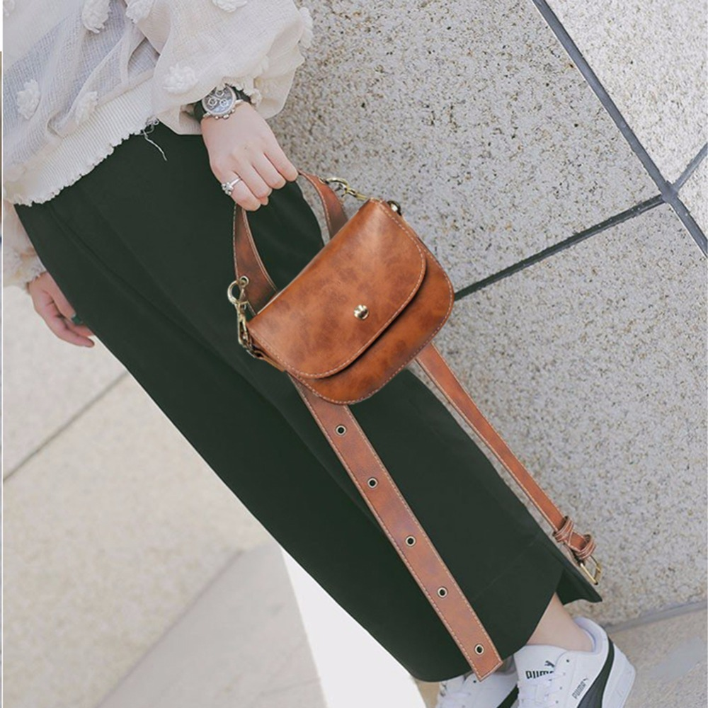 Women PU Leather Belt Bag Luxury Waist Bags Fashion Brand Ladies Phone Fanny Pack Solid Color Pattern, Simple Design.