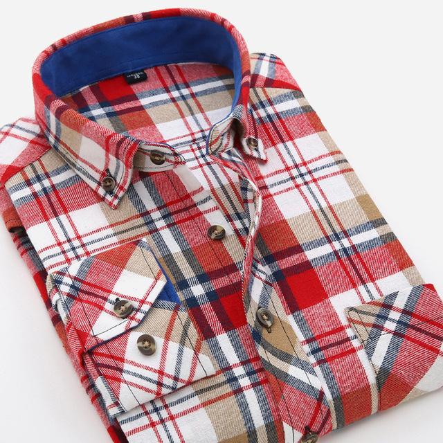 2016 Nueva llegada del verano del nuevo estilo de los hombres camisas de algodón camisas de hombre camisas a cuadros de manga larga chemise homme camisas