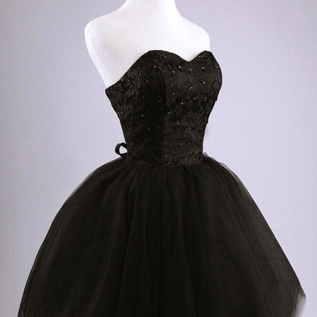 New arrival elegant women short prom dress black lace up princess sweetheart beading fashion women black prom dress 5