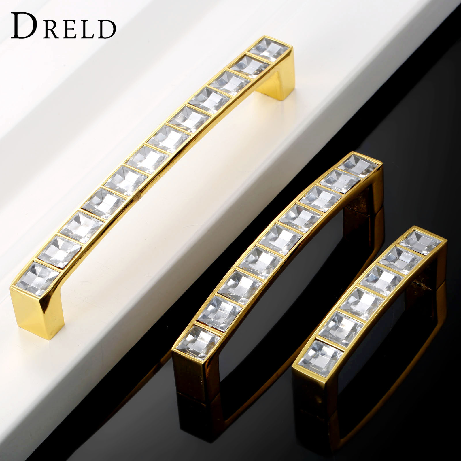 DRELD 64/96/128mm Furniture Handle Glass Crystal Cabinet Knobs and Handles Cupboard Drawer Kitchen Pull Knobs Furniture Hardware dreld 96 128 160mm furniture handle modern cabinet knobs and handles door cupboard drawer kitchen pull handle furniture hardware